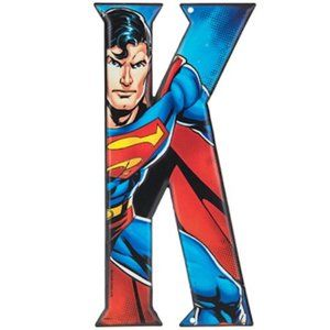 Superman Superhero Letter K Metal Sign